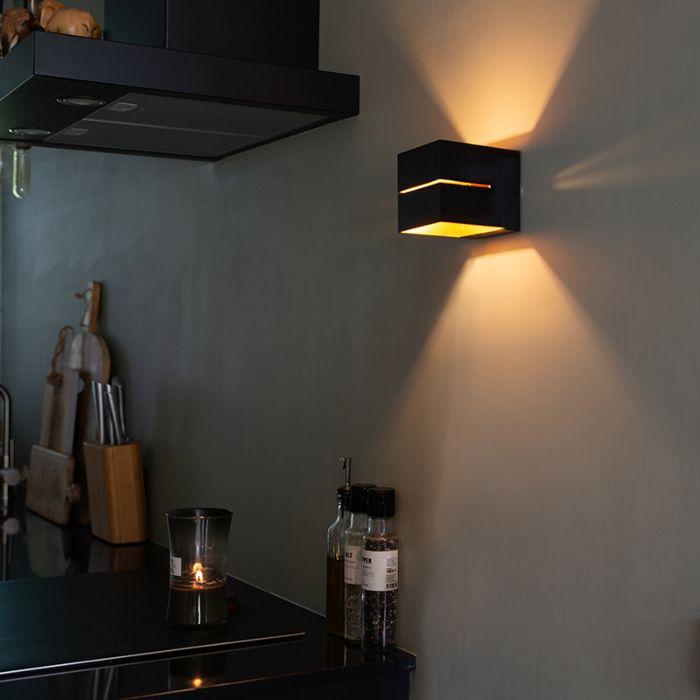 Moderne-wandlamp-zwart/goud---Transfer-2