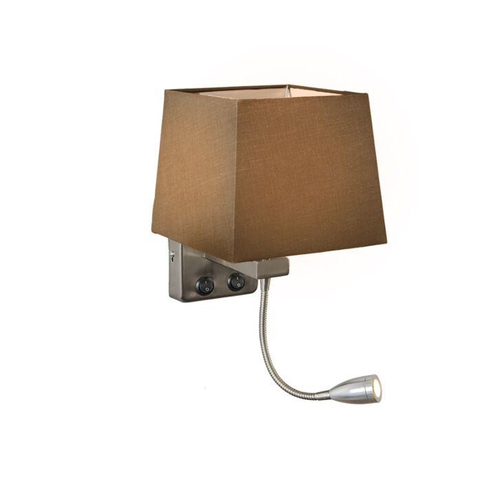 Wandlamp-Brescia-staal-met-kap-vierkant-bruin