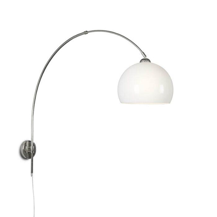 Wandbooglamp-chroom-met-bol-opaal