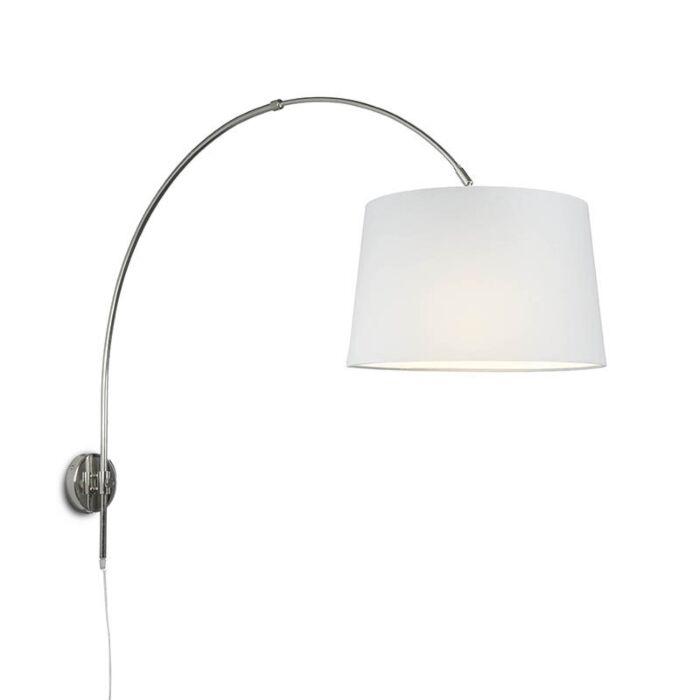 Wandbooglamp-chroom-met-kap-40cm-wit