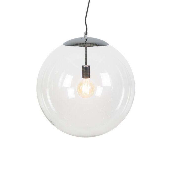 Scandinavische-hanglamp-chroom-met-helder-glas---Ball-50