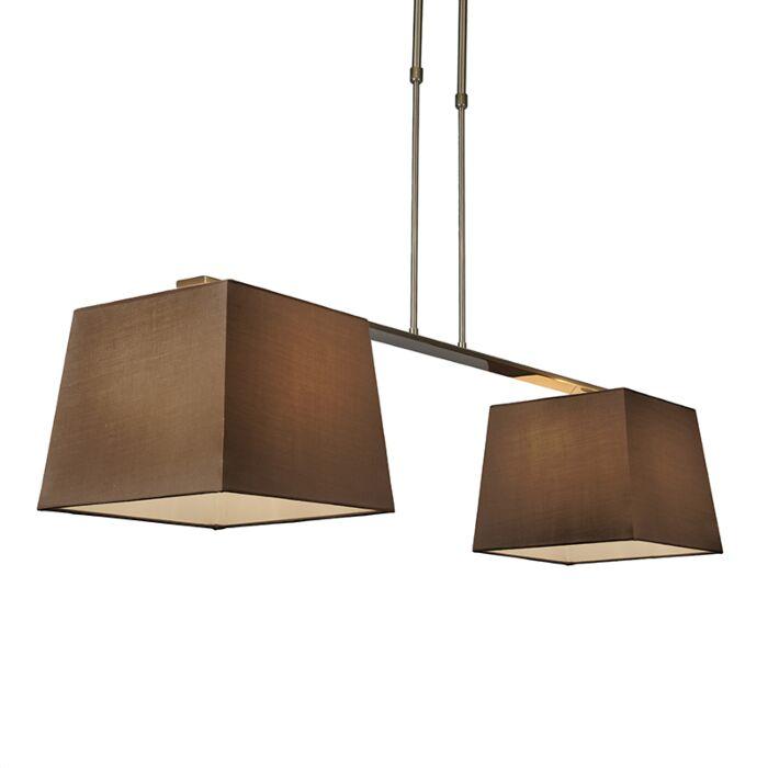 Hanglamp-Combi-Delux-2-kap-vierkant-30cm-bruin