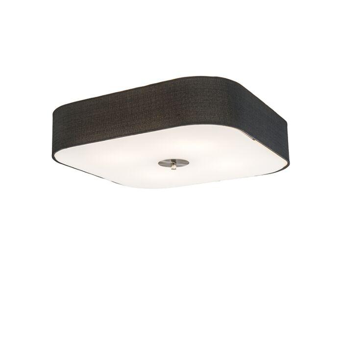 Plafondlamp-vierkant-zwart-50-cm---Drum-deluxe-Jute
