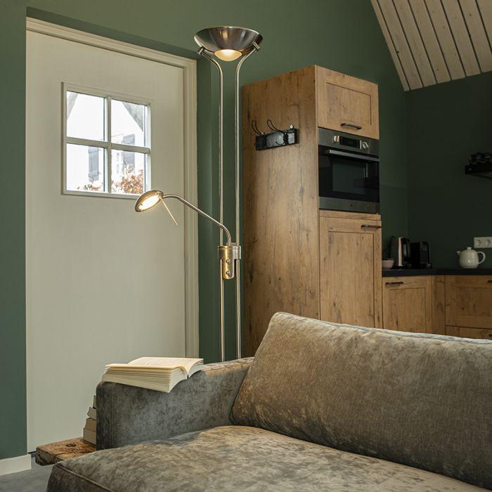 Vloerlamp-staal-met-leeslamp-incl.-LED-en-dimmer---Diva-2