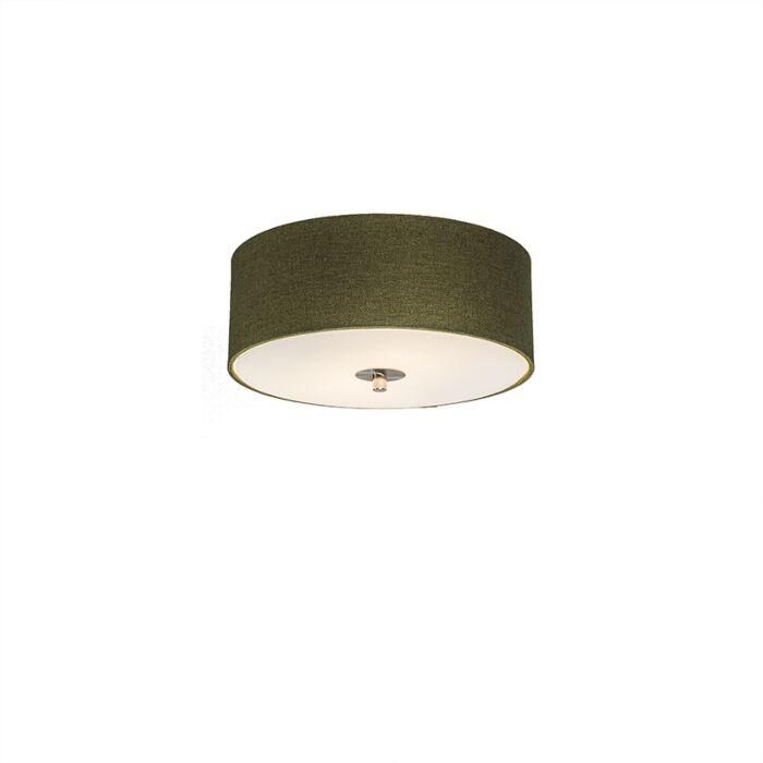 Landelijke-plafondlamp-groen-30-cm---Drum-Jute