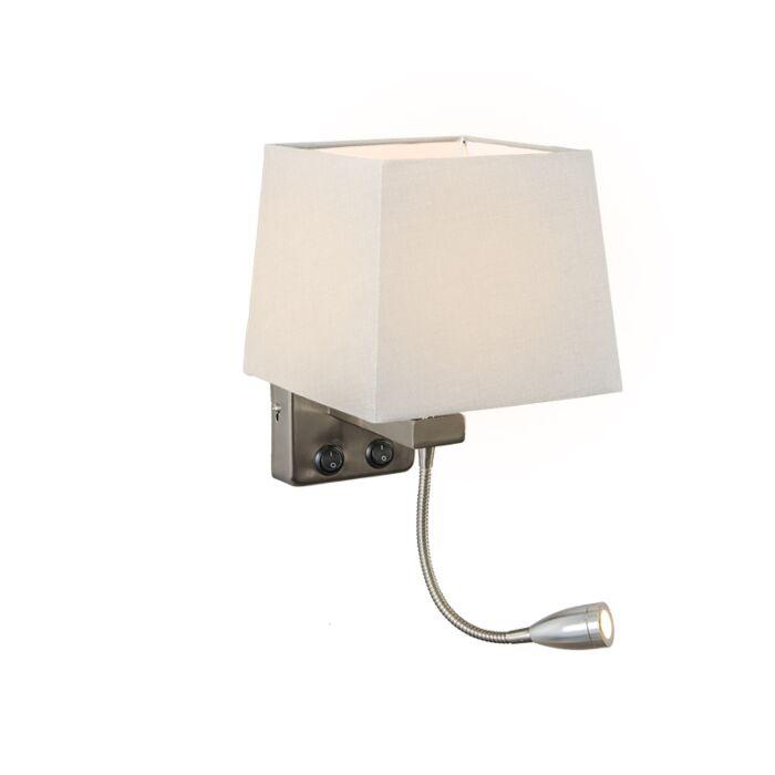 Wandlamp-Brescia-staal-met-kap-vierkant-wit