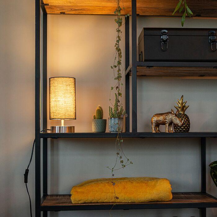 Moderne-tafellamp-zwart-met-staal---Milo-2