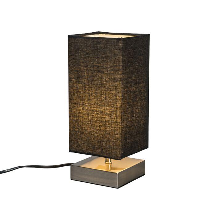 Moderne-tafellamp-zwart-met-staal---Milo