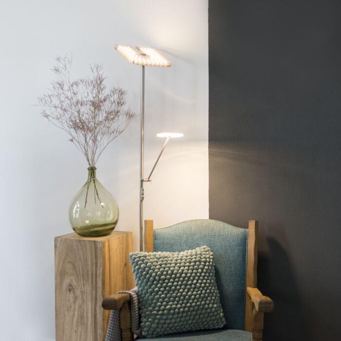 Moderne-vloerlamp-staal-met-leesarm-incl.-LED---Familia
