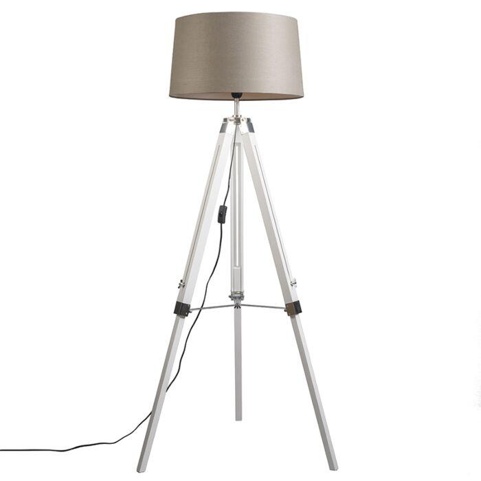 Landelijke-vloerlamp-wit-met-linnen-kap-taupe-45-cm---Tripod-