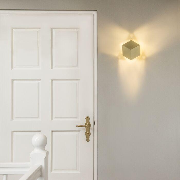 Moderne-wandlamp-goud---Cube