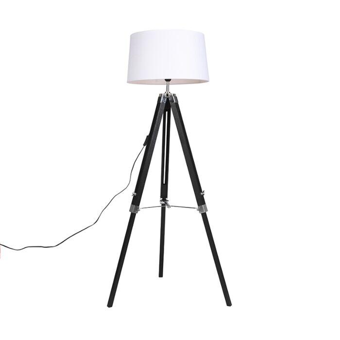 Vloerlamp-Tripod-zwart-met-kap-45cm-linnen-wit