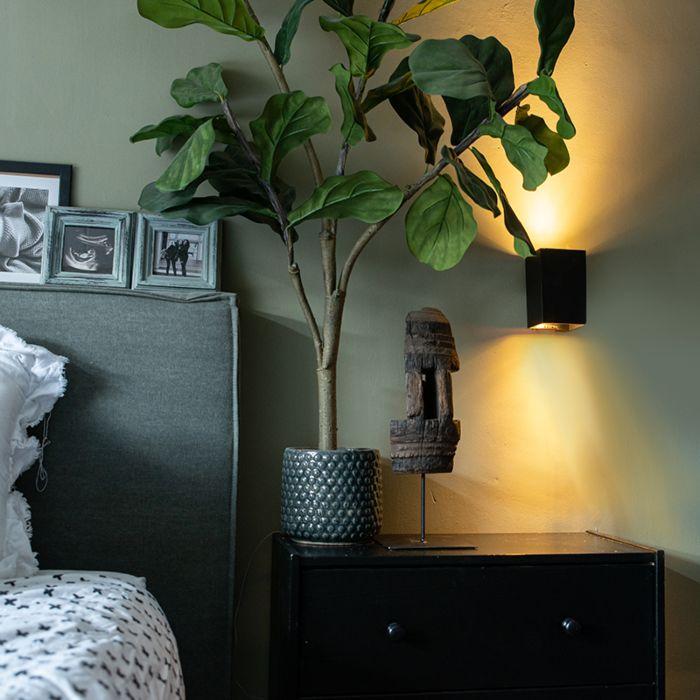 Moderne-wandlamp-zwart-vierkant---Sandy
