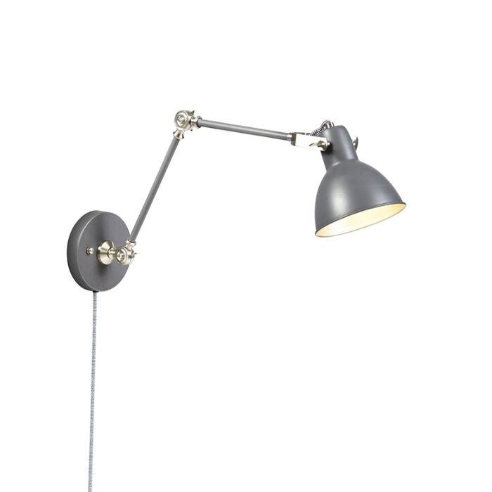Industriële-wandlamp-grijs-verstelbaar---Dazzle