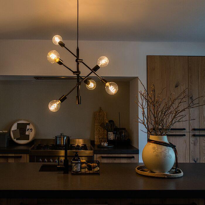 Industriële-hanglamp-zwart-6-lichts---Sydney