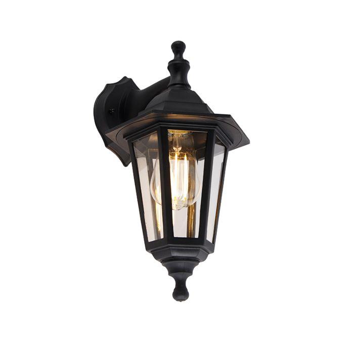 Klassieke-buitenwandlamp-zwart-IP44---New-Haven