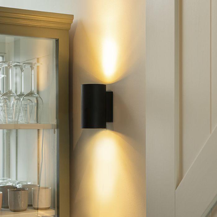 Moderne-wandlamp-rond-zwart---Sandy