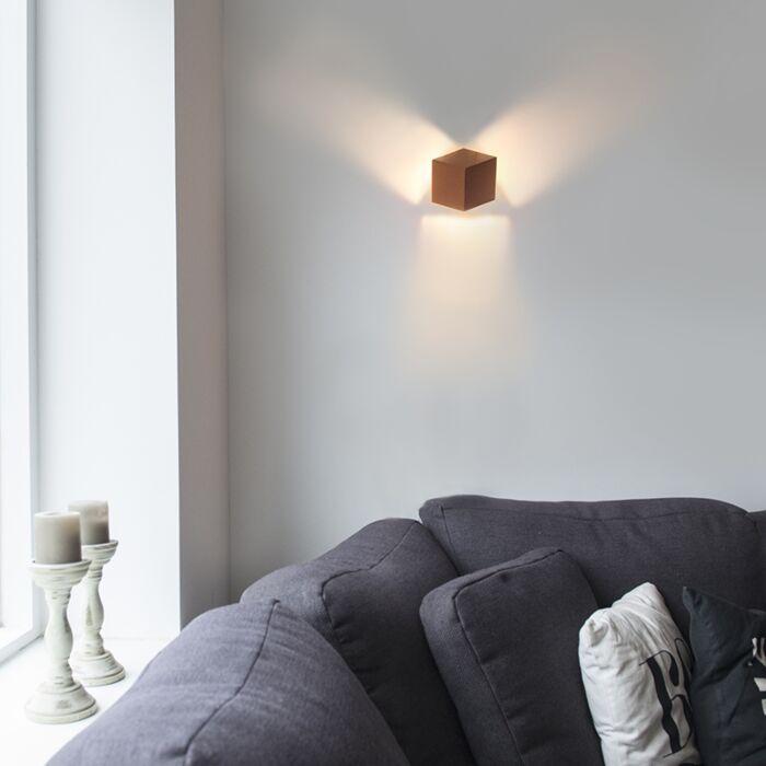 Moderne-wandlamp-koper---Cube