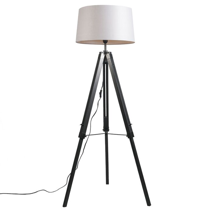 Vloerlamp-Tripod-zwart-met-kap-45cm-linnen-licht-grijs