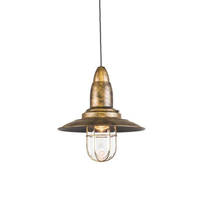 Vintage-hanglamp-brons-met-glas---Pescador