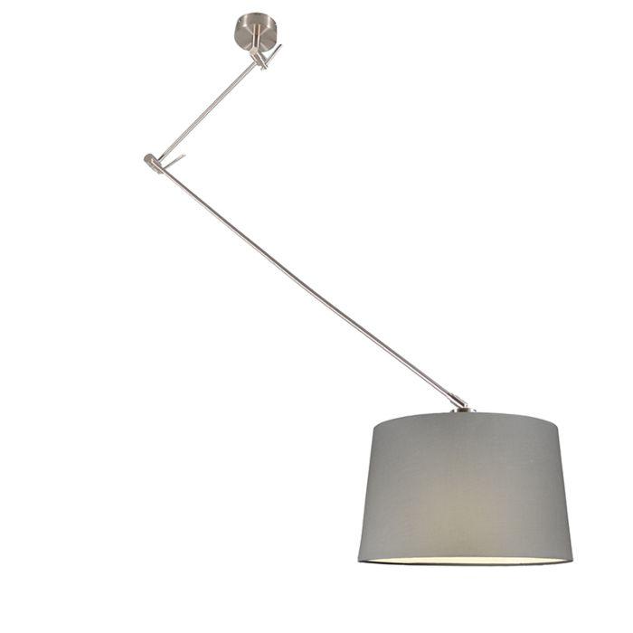 Hanglamp-Blitz-staal-met-kap-40cm-grijs