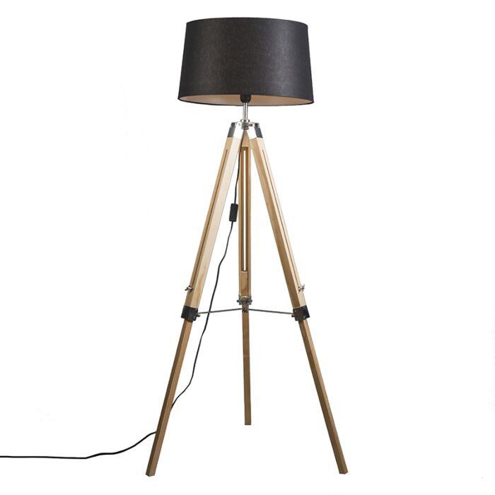 Vloerlamp-naturel-met-zwarte-linnen-kap-45-cm---Tripod