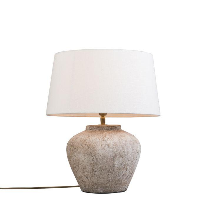 Klassieke-tafellamp-bruin-met-witte-kap---Inca-XS