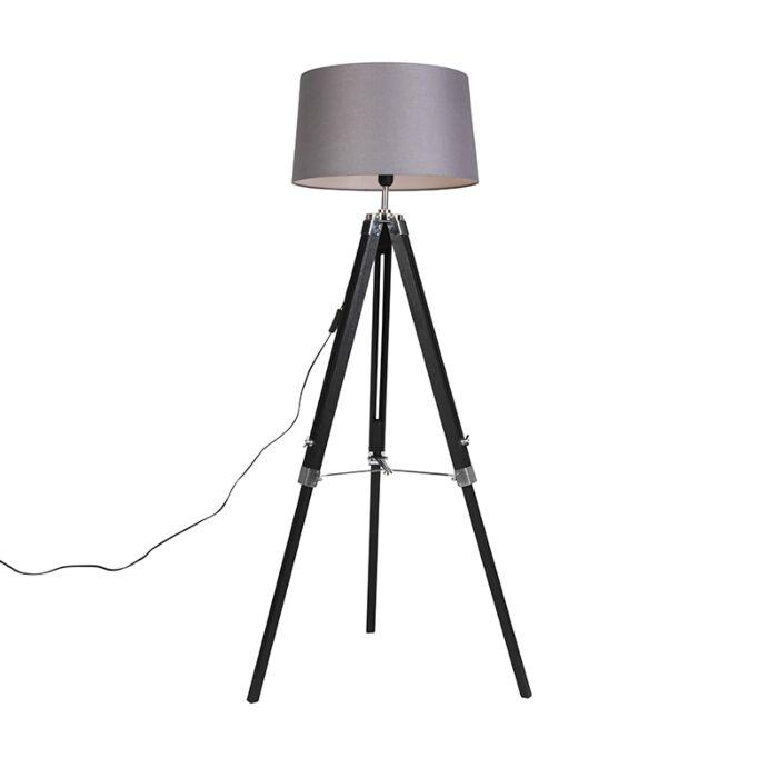 Vloerlamp-Tripod-zwart-met-kap-45cm-linnen-donker-grijs