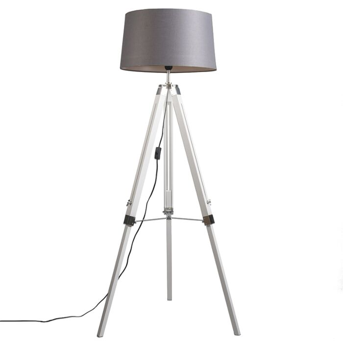 Industriële-vloerlamp-wit-met-grijze-linnen-kap---Tripod