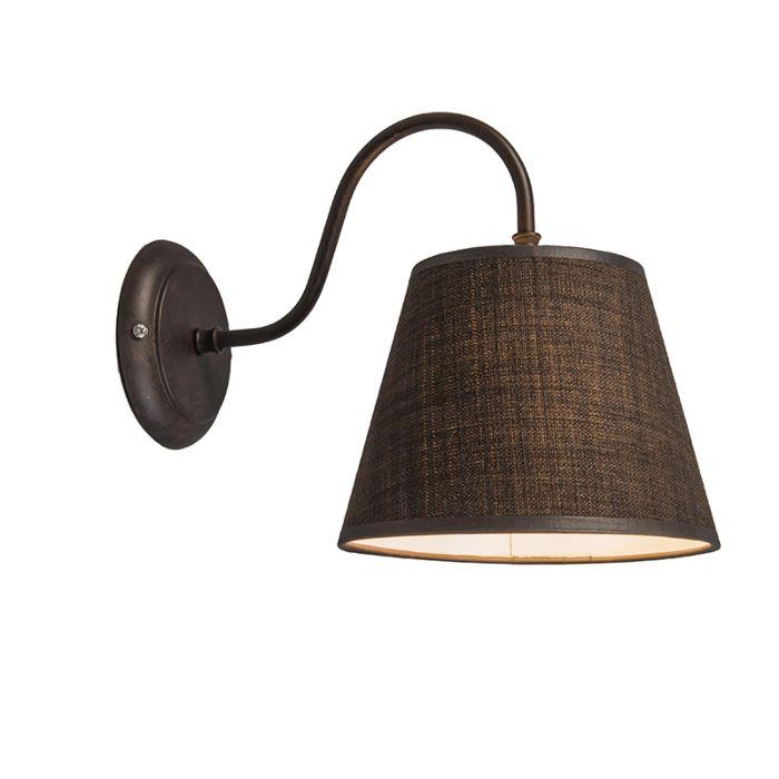 Wandlamp-Silea-Down-met-kap-bruin