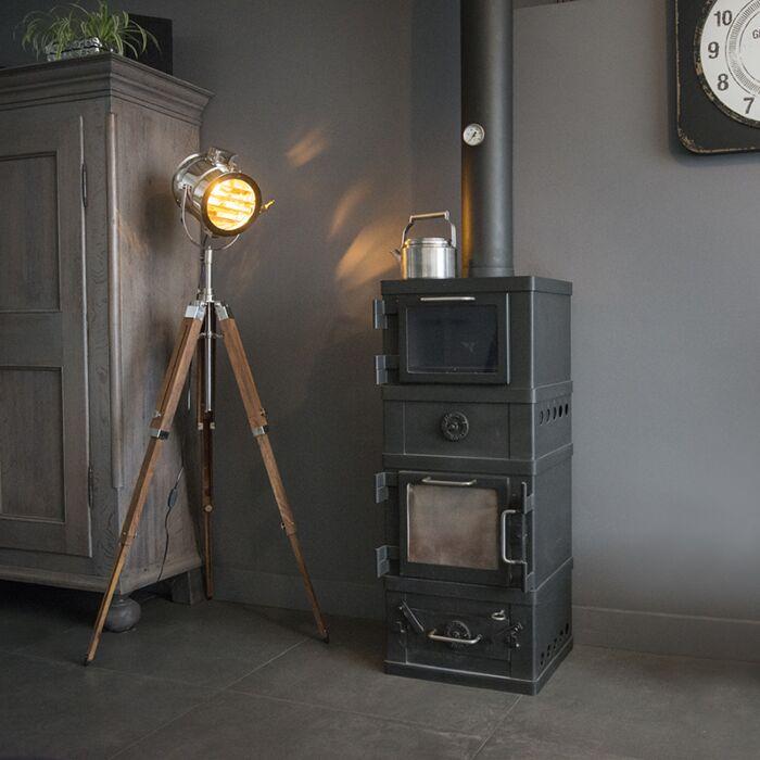 Vloerlamp-Tripod-Radiant-hout-met-chroom
