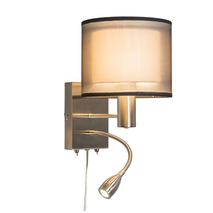 Wandlamp-Iseo-met-kap-en-LED-leeslamp