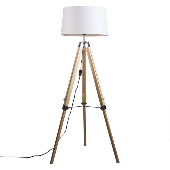 Vloerlamp-naturel-met-witte-linnen-kap-45-cm---Tripod