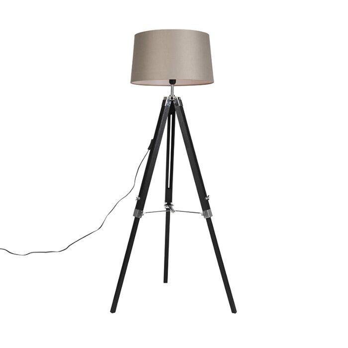 Vloerlamp-Tripod-zwart-met-kap-45cm-linnen-taupe
