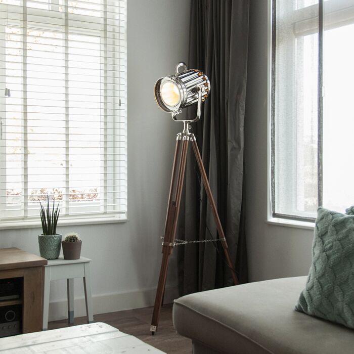 Vloerlamp-Tripod-Torch-hout-met-chroom