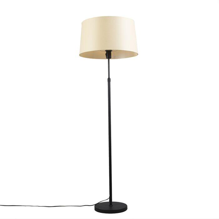 Vloerlamp-zwart-met-velours-kap-geel-met-goud-35-cm---Parte
