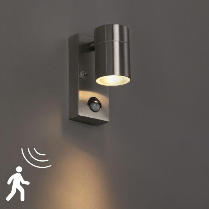 Buitenwandlamp-staal-IP44-met-bewegingssensor---Solo