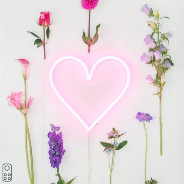 Wandlamp-roze-met-afstandsbediening-incl.-LED---Neon-hart