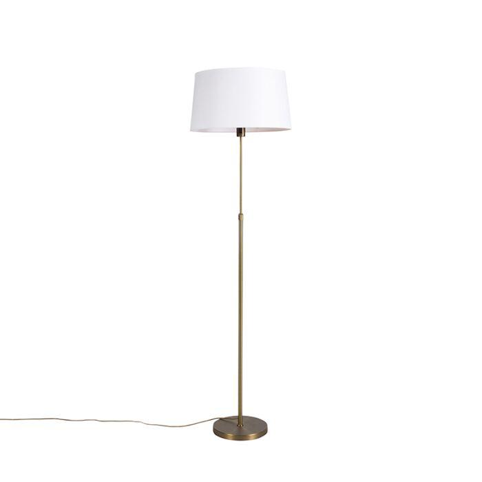 Vloerlamp-brons-met-linnen-kap-wit-45-cm-verstelbaar---Parte
