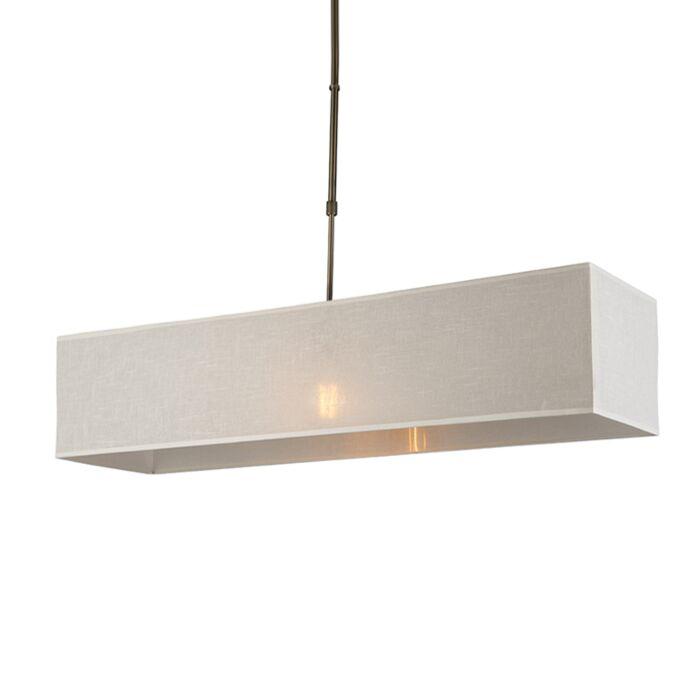 Hanglamp-Mix-1-brons-met-rechthoekige-kap-creme