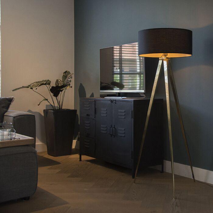 Moderne-vloerlamp-messing-met-zwarte-kap---Tripe