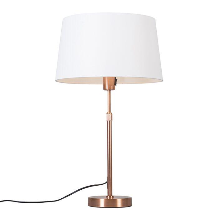 Tafellamp-koper-met-kap-wit-35-cm-verstelbaar---Parte