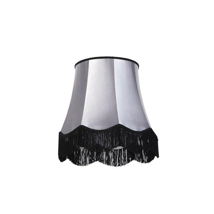 Zijde-lampenkap-zwart-met-grijs-45-cm---Granny