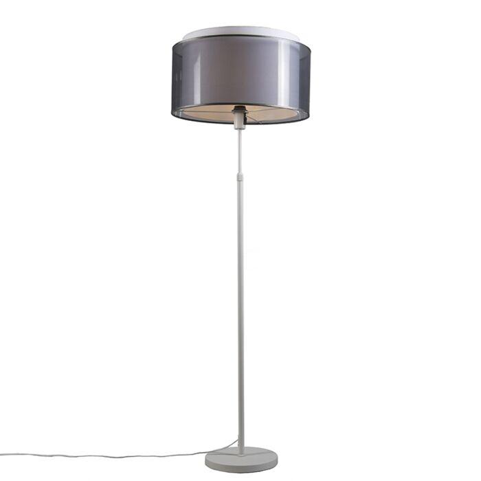 Vloerlamp-wit-met-zwart/witte-kap-47-cm-verstelbaar---Parte
