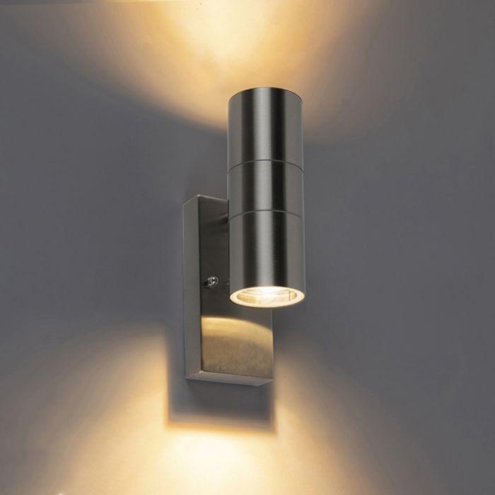 Buitenwandlamp-staal-IP44-met-licht-donker-sensor---Duo