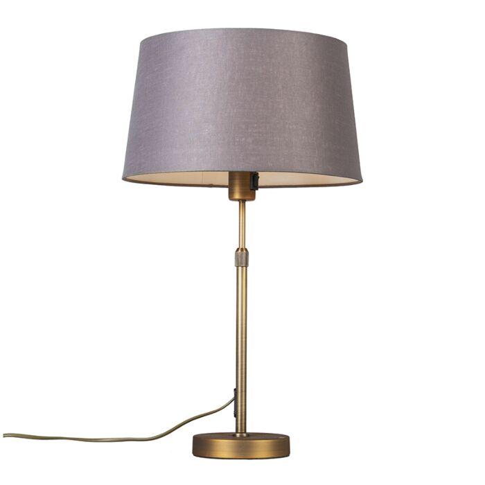 Tafellamp-brons-met-kap-bruin/grijs-35-cm-verstelbaar---Parte