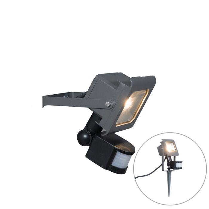 LED-straler-donkergrijs-10W-met-bewegingsmelder-en-grondpin---Radius-2