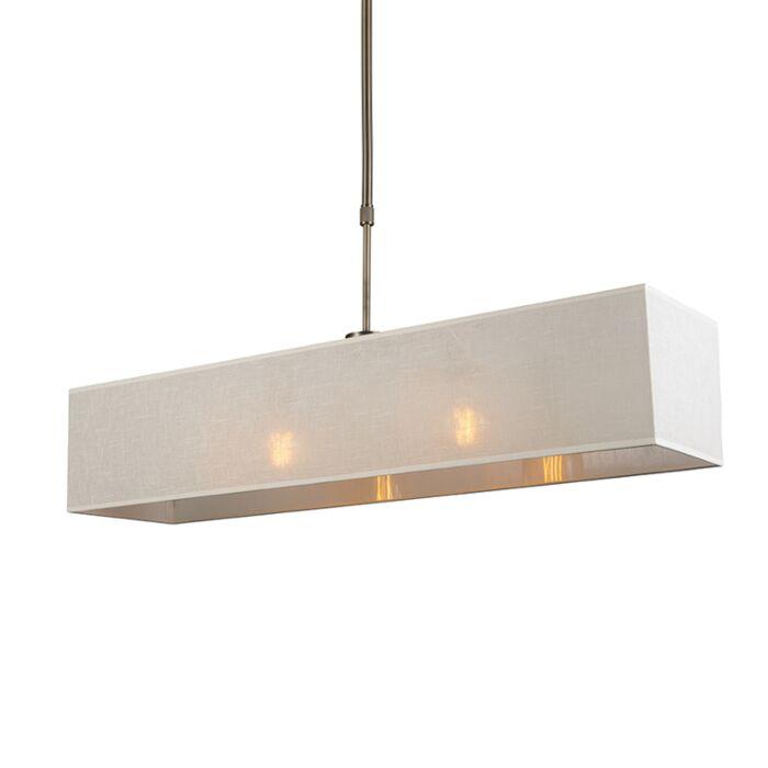 Hanglamp-Mix-2-brons-met-rechthoekige-kap-creme