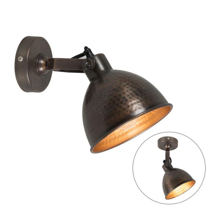 Industriële-wandlamp-koper-met-messing-verstelbaar---Liko