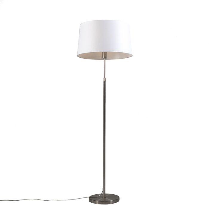 Vloerlamp-staal-met-kap-wit-45-cm-verstelbaar---Parte